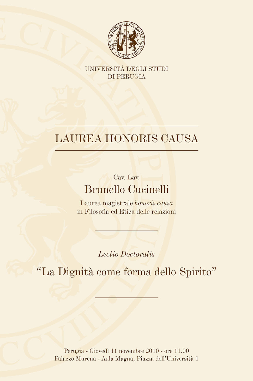 2010 - Laurea Honoris Causa