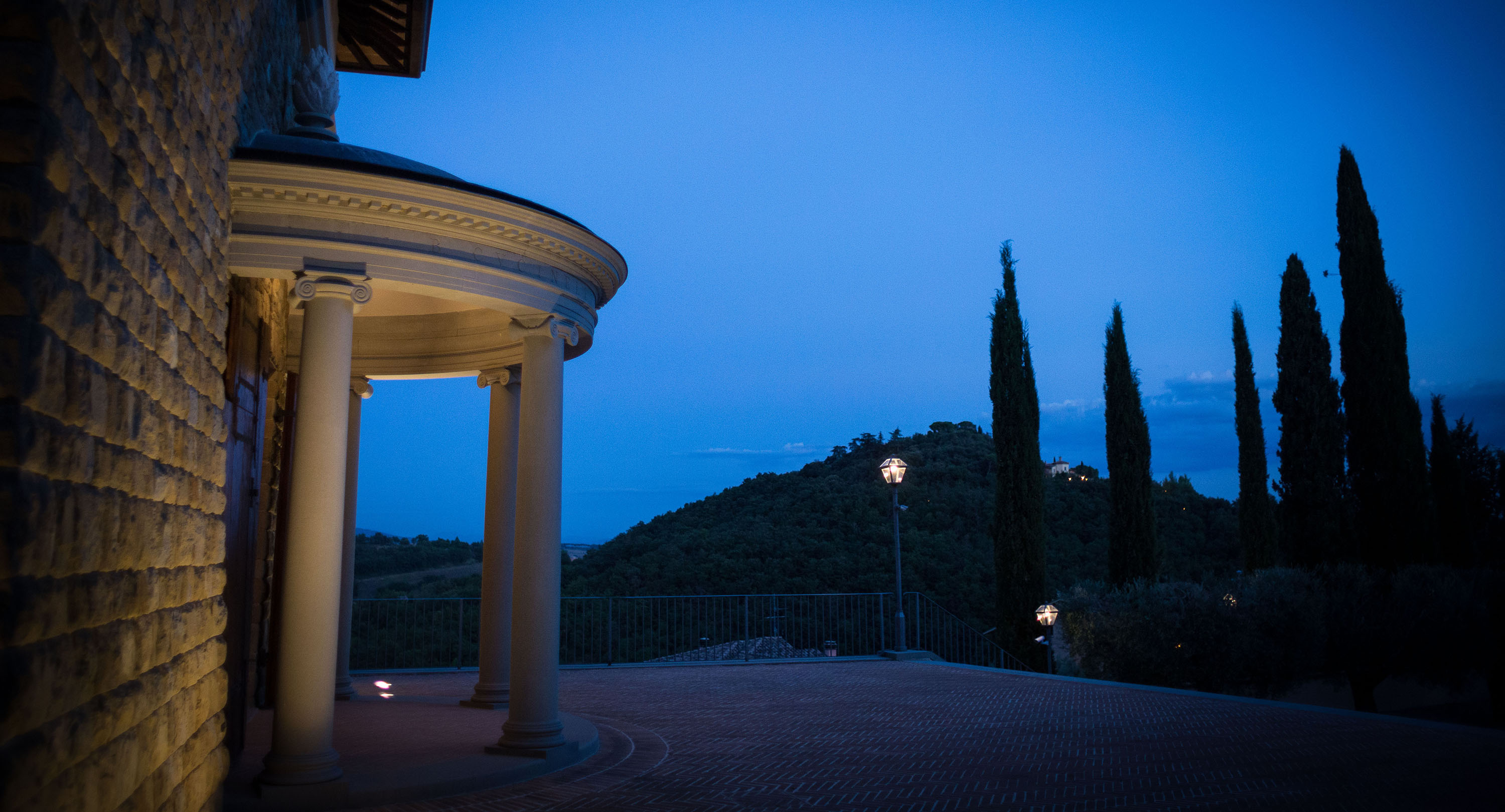 The Theatre Cucinelli at night time